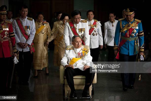 Thailand's King Bhumibol Adulyadej leaves the Siriraj Hospital to go to The Grand Palace on December 5 2011 in Bangkok Thailand King Bhumibol is...