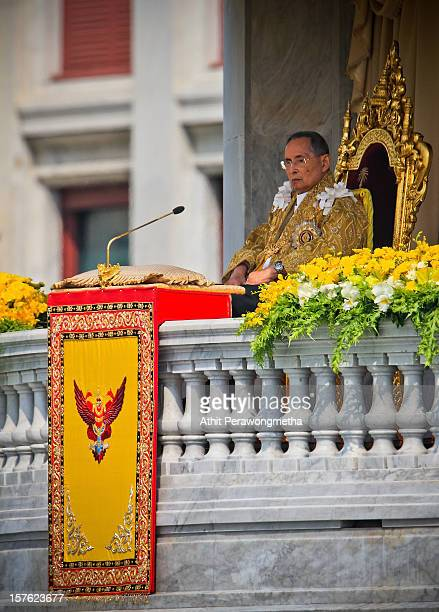 Thailand's King Bhumibol Adulyadej makes a rare public appearance on the occasion of his his 85th birthday, as tens of thousands come to pay respect...