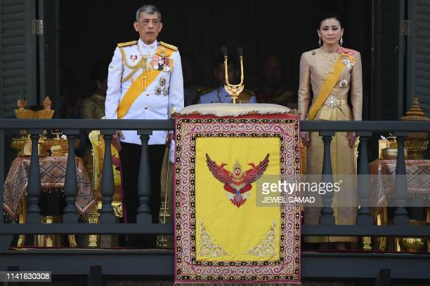 Thailand's King Maha Vajiralongkorn and Queen Suthida appear on the balcony of Suddhaisavarya Prasad Hall of the Grand Palace as they grant a public...