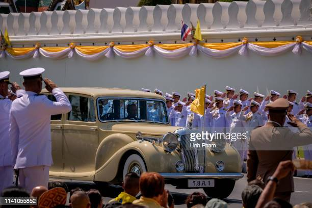 Thailand's King Maha Vajiralongkorn and Queen Suthida arrive at the Grand Palace for his coronation on May 4 2019 in Bangkok Thailand Thailand held...