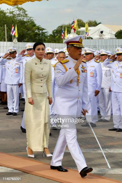 Thailand's King Maha Vajiralongkorn and Queen Suthida arrive to pay their respect at King Rama V monument in Bangkok on May 2 ahead of the royal...