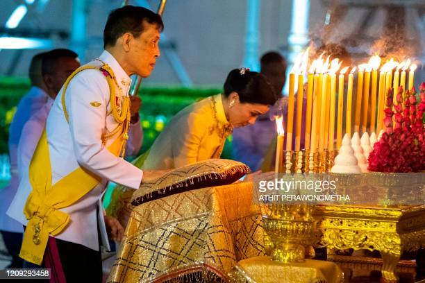 Thailand's King Maha Vajiralongkorn and Queen Suthida pay their respects at the King Rama I monument to mark Chakri Memorial Day that honours the...