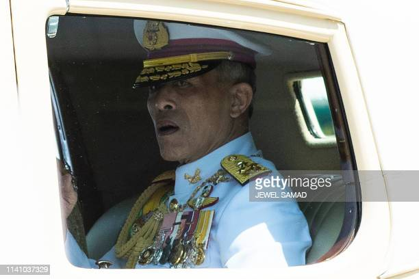 TOPSHOT Thailand's King Maha Vajiralongkorn arrives at the Grand Palace for his coronation in Bangkok on May 4 2019