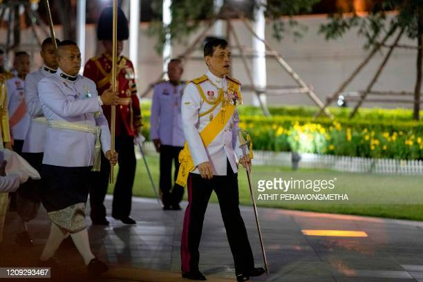 Thailand's King Maha Vajiralongkorn arrives to pay respects at the King Rama I monument to mark Chakri Memorial Day that honours the founding of the...
