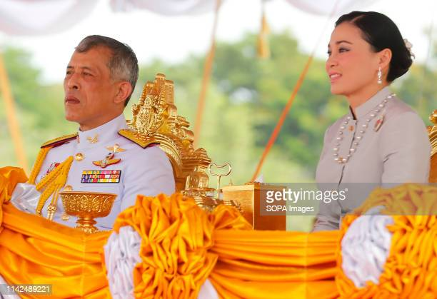 Thailand's King Maha Vajiralongkorn Bodindradebayavarangkun and Queen Suthida watches the annual Royal Ploughing Ceremony in Sanam Luang The annual...