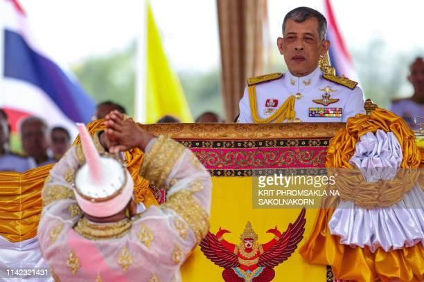 Thailand's King Maha Vajiralongkorn presides the annual royal ploughing ceremony near the Grand Palace in Bangkok on May 9, 2019.