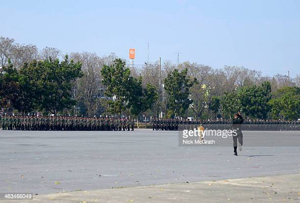 Thailand's military forces gather as they mark the 2014 Thai Armed Forces day with a military parade at the 2nd Cavalry Division Kings Gaurd Barracks...