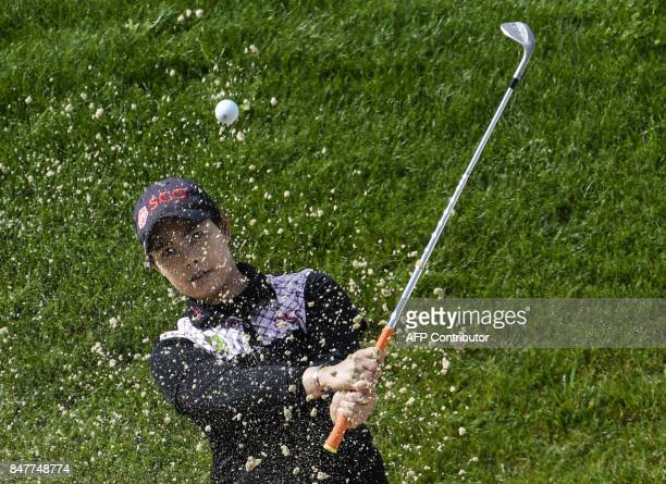 Thailand's Moriya Jutanugarn competes during the Evian Championship women's golf tournament on September 16 2017 in the French Alps town of...