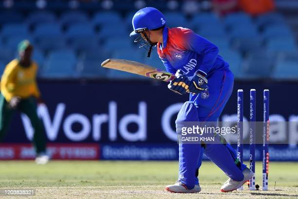 Thailand's Nannapat Koncharoenkai is clean-bowled by South Africa's Shabnim Ismail during the Twenty20 women's World Cup cricket match between South...