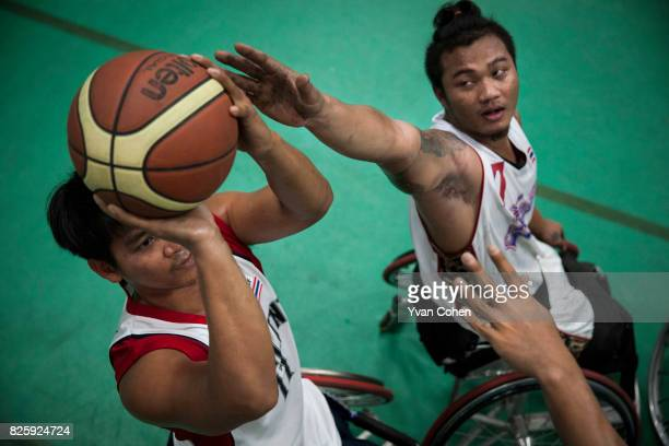 Thailand's national wheelchair basketball team training at a government sports facility in Cholburi province about an hour and a half to the east of...