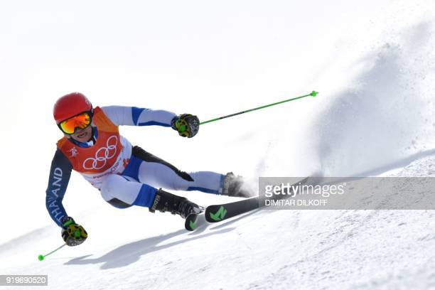 Thailand's Nicola Zanon competes in the Men's Giant Slalom at the Jeongseon Alpine Center during the Pyeongchang 2018 Winter Olympic Games in...