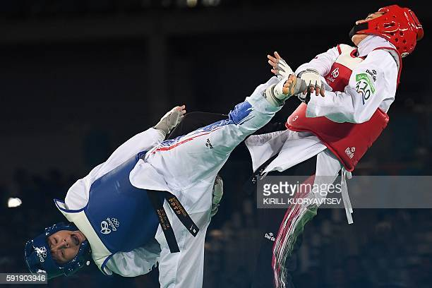 TOPSHOT Thailand's Phannapa Harnsujin competes against Iran's Kimia Alizadeh Zenoorin during their womens taekwondo repechage bout in the 57kg...