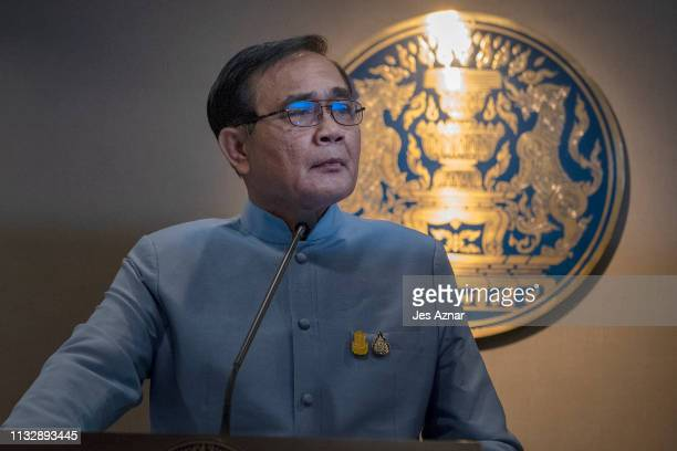 Thailand's Prime Minister General Prayuth Chanocha speaks to members of the press on March 26 2019 in Bangkok Thailand The Palang Pracha Rath Party...