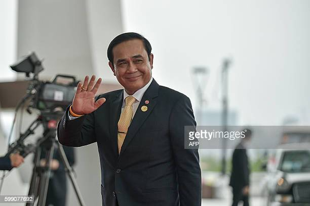 Thailand's Prime Minister Prayut Chan-O-Cha arrives at the Hangzhou International Expo Center to attend the G20 Summit in Hangzhou on September 4,...