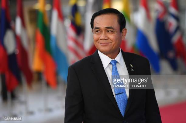 Thailand's Prime Minister Prayut ChanOCha arrives for a Asia Europe Meeting at the European Council in Brussels on October 18 2018