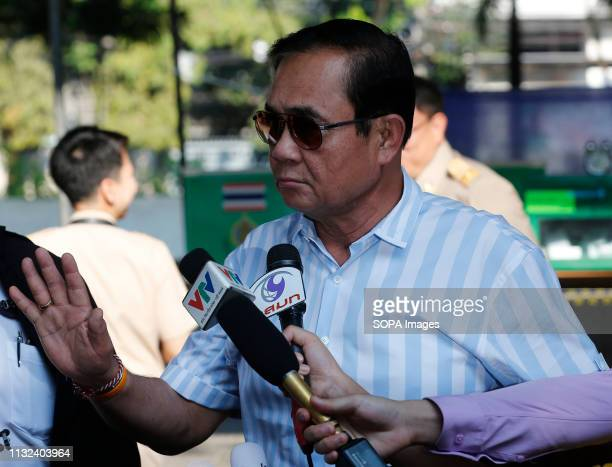 Thailand's Prime Minister Prayut Chanocha gestures after his vote during Thailand's general election in Bangkok