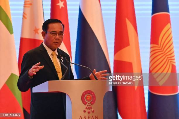 Thailand's Prime Minister Prayut ChanOCha speaks during a press conference at the end of the 34th Association of Southeast Asian Nations summit in...