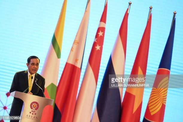 Thailand's Prime Minister Prayut ChanOCha speaks during the opening ceremony of the 34th Association of Southeast Asian Nations summit in Bangkok on...