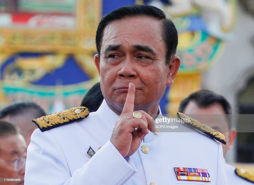 Thailand's Prime Minister, Prayuth Chan-ocha gestures after... : News Photo