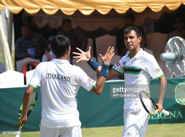 Thailand's Ratiwana Sanchai and Ratiwana Sonchat after winning their Davis Cup AsiaOceania GroupII Tennis doubles match against Pakistan in Islamabad...