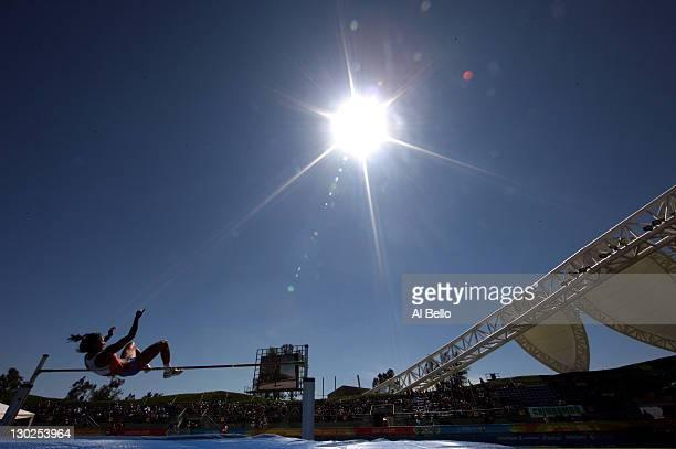 Thaimara Rivas of Venezuela competes in the women's high jump heptathlon during Day 11 of the XVI Pan American Games at Telmex Stadium on October 25,...