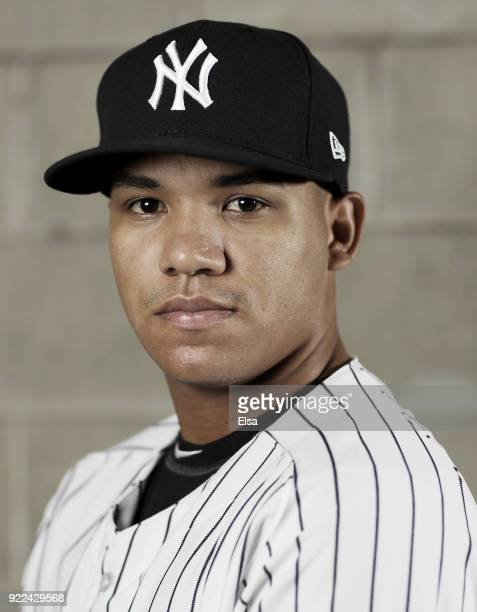Thairo Estrada of the New York Yankees poses for a portrait during the New York Yankees photo day on February 21 2018 at George M Steinbrenner Field...