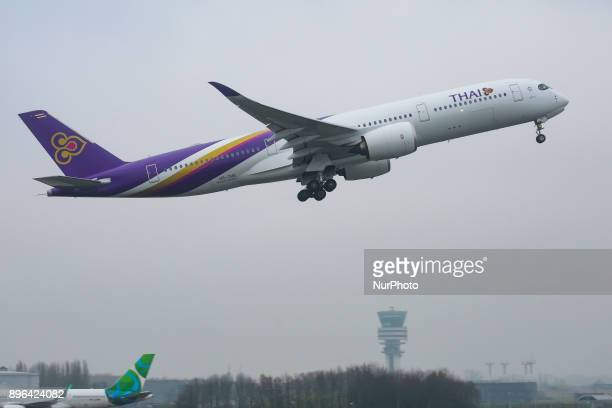 Thai's Airbus A350XWB take off in Brussels international airport connecting Brussels with Bangkok Thai is using the new generation of jetliners...