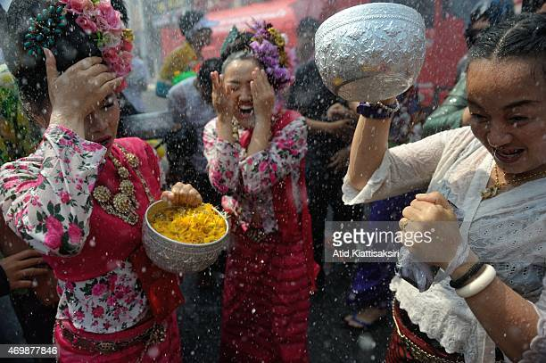Thais celebrate 'Songkran' the Thai new years celebration by playing with water
