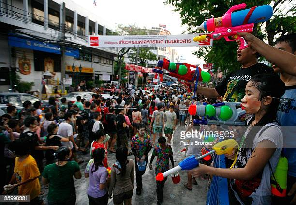 Thais enjoy the water festival called Songkran as the capital city attempts to get back to normal April 15 2009 in Bangkok Thailand Thailand's...