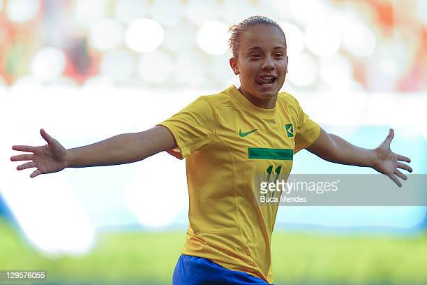Thais of Brazil celebrates a scored goal againist Argentina during a match as part of XVI Pan American Games at Ominilife stadium on October 18 2011...
