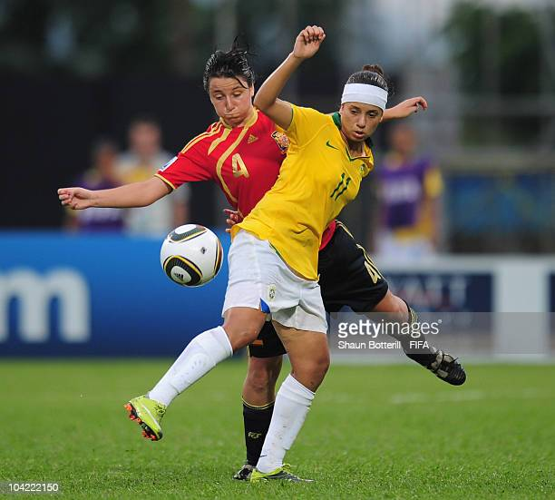 Thais of Brazil is challenged by Ivana Andres of Spain during the FIFA U17 Women's World Cup Quarter Final match between Spain and Brazil at the Ato...