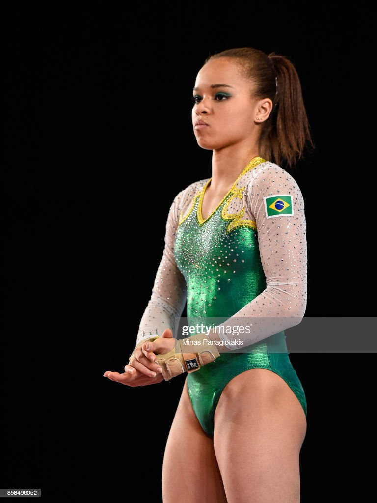 Thais Santos of Brazil prepares to compete on the floor exercise during the women's individual all-around final of the Artistic Gymnastics World Championships on October 6, 2017 at Olympic Stadium in Montreal, Canada.