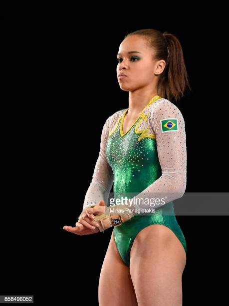 Thais Santos of Brazil prepares to compete on the floor exercise during the women's individual allaround final of the Artistic Gymnastics World...