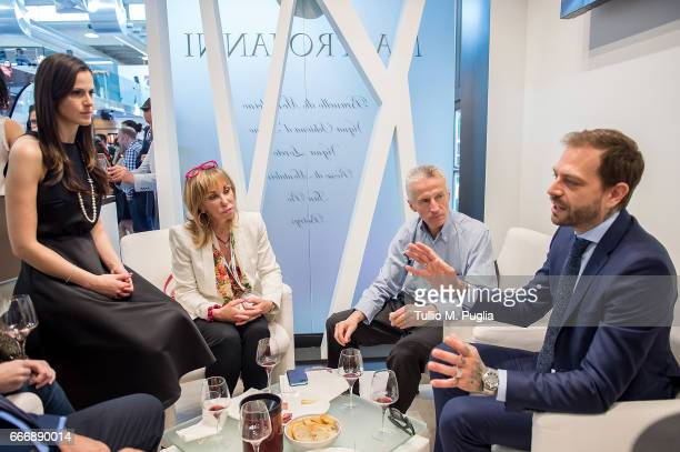 Thais Souza Wiggers Rossana Bettini Riccardo Illy and Paul Baccaglini President of Palermo visit Vinitaly on April 10 2017 in Verona Italy