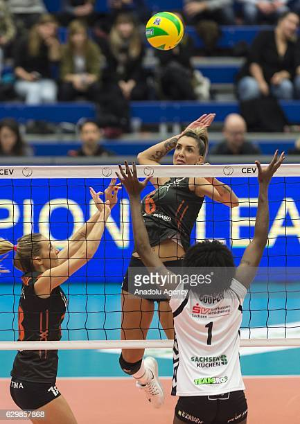 Thaisa Daher Pallesi of Eczacibasi VitrA in action during the Volleyball European Champions League Group D match between Dresdner SC and Eczacibasi...