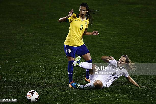 Thaisa De Moraes Moreno of Brazil competes with Katie Hoyle of New Zealand during the Women's International friendly match between the New Zealand...