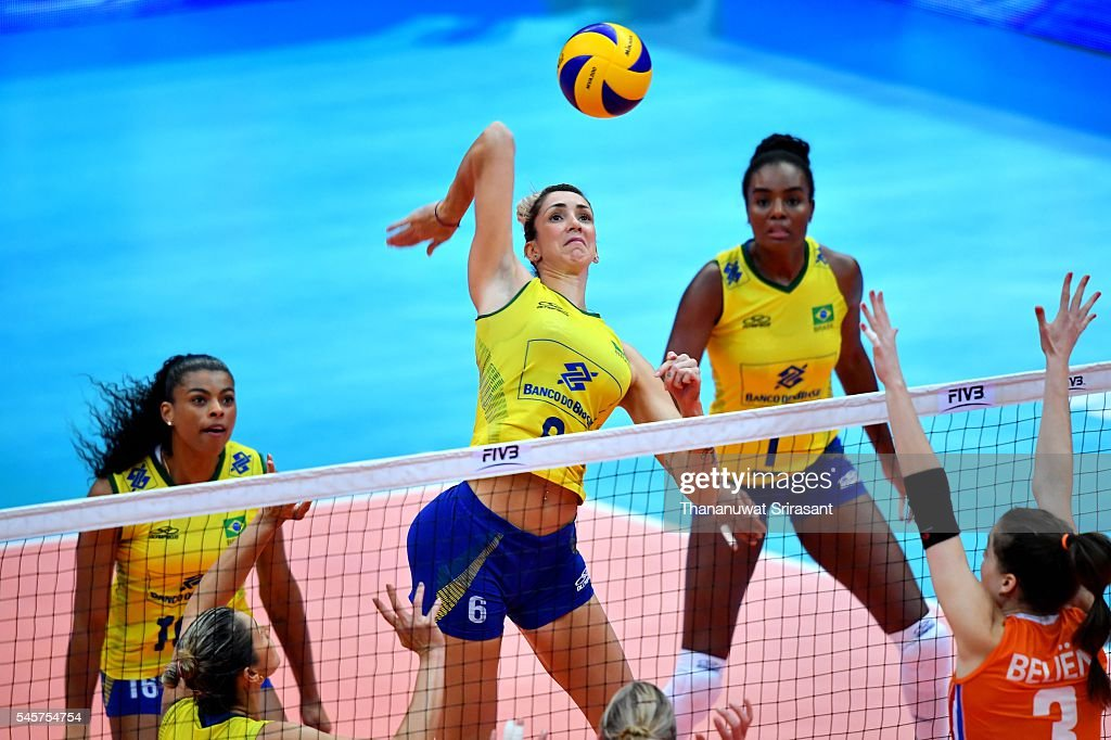 Thaisa Menezes of Brazil hits the ball during day four of the FIVB World Grand Prix Group 1 Final on July 9, 2016 in Bangkok, Thailand.