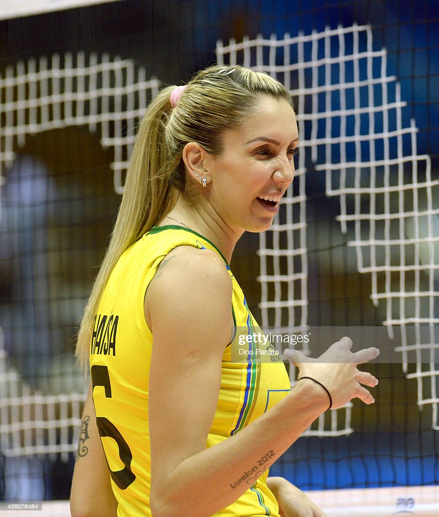 Thaisa Menezes of Brazil reacts during the FIVB Women's World Championship pool B match between Canada and Brazil on September 25, 2014 in Trieste, Italy.