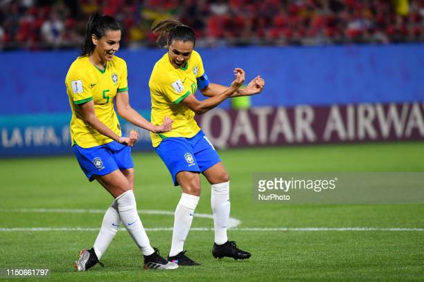 Thaisa Moreno and VIEIRA DA SILVA Marta celebrate goal in Action during the match between Italy vs Brasil at the FIFA Women's World Cup in France at...