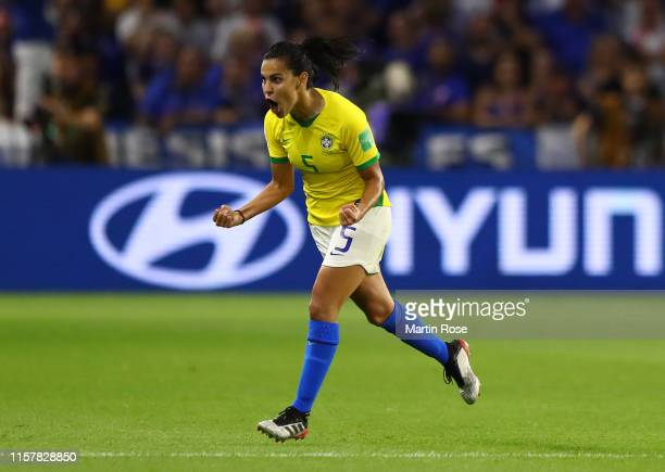 Thaisa of Brazil celebrates after scoring her team's first goal during the 2019 FIFA Women's World Cup France Round Of 16 match between France and...