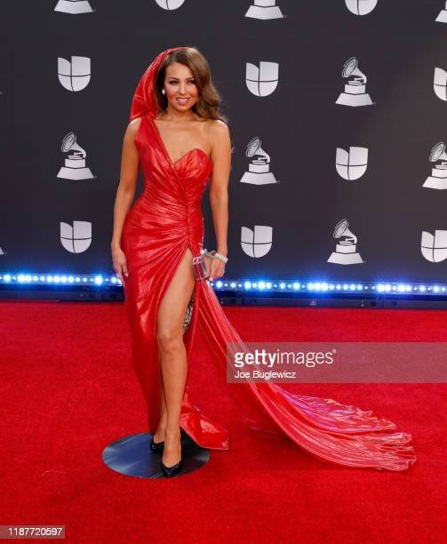 Thalía attends the 20th annual Latin GRAMMY Awards at MGM Grand Garden Arena on November 14 2019 in Las Vegas Nevada