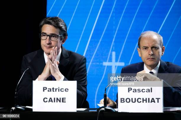Thales CEO Patrice Caine and Thales CFO pascal Bouchiat attend the Thales group general shareholders meeting on May 23 2018 in Paris France The...