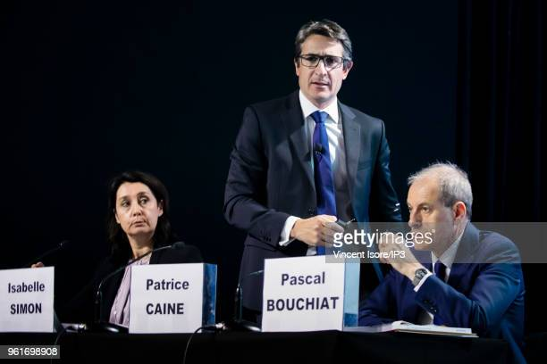 Thales CEO Patrice Caine attends the Thales group general shareholders meeting on May 23 2018 in Paris France The electronics group specializing in...