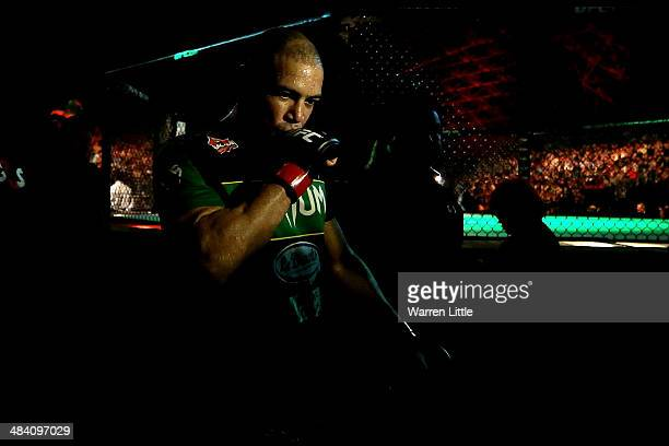 Thales Leites celebrates his first round victory against Trevor Smith after their bout during UFC Fight Night 39 at du Arena on April 11, 2014 in Abu...