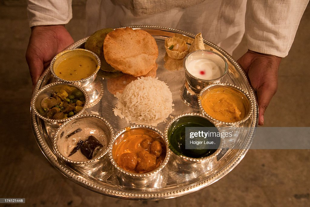 Thali dinner at Amrit Rao Peshwa Palace : Stock Photo