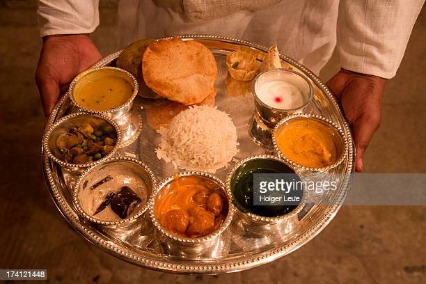 thali dinner at amrit rao peshwa palace - indian food stock photos and pictures