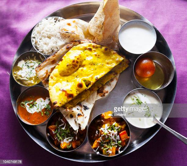 thali meal- indian food - stellalevi stock pictures, royalty-free photos & images