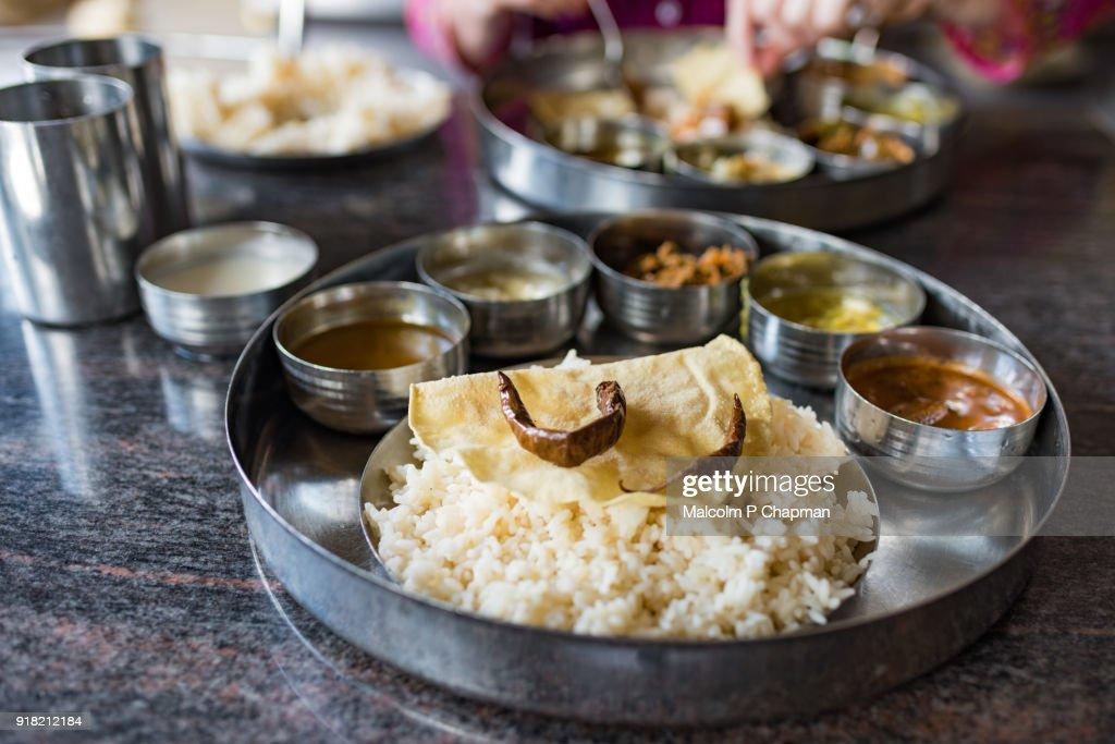 Thali rice and curry vegetable meal, Jaffna, Sr Lanka : Stock Photo