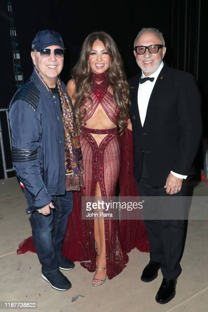 Thalia and Emilio Estefan backstage at the 20th annual Latin GRAMMY Awards at MGM Grand Garden Arena on November 14 2019 in Las Vegas Nevada