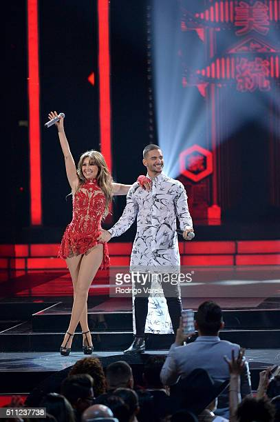 Thalia and Maluma perform onstage during Univision's 28th Edition of Premio Lo Nuestro A La Musica Latina on February 18 2016 in Miami Florida